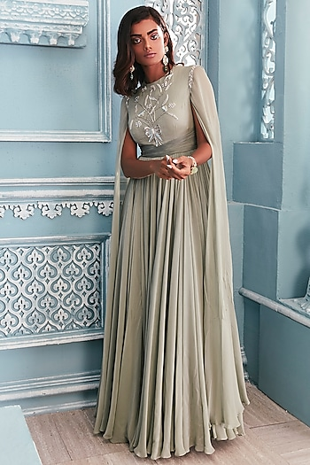 Jade Green Anarkali With Floor Length Sleeves by Mahima Mahajan