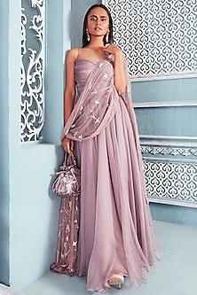 Lilac Embellished Anarkali With Dupatta by Mahima Mahajan