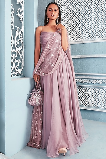 Lilac Embellished Anarkali With Dupatta by Mahima Mahajan