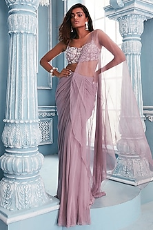 Lilac Pre-Draped Saree Set by Mahima Mahajan