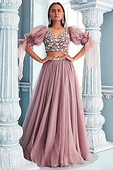 Lilac Velvet Blouse With Lehenga Skirt by Mahima Mahajan