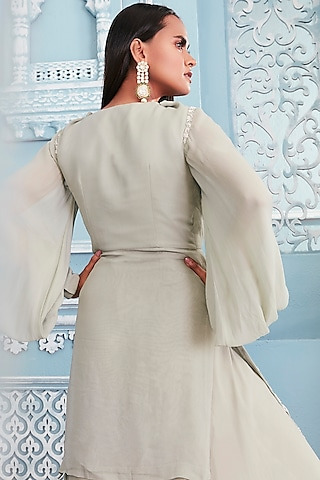 Jade Green Embroidered Shirt With Palazzo Pants by Mahima Mahajan