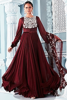 Wine Embroidered Anarkali With Dupatta by Mahima Mahajan
