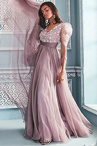 Lilac Anarkali With Bow Dupatta by Mahima Mahajan