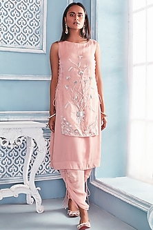 Blush Pink Embroidered Shirt With Pants by Mahima Mahajan