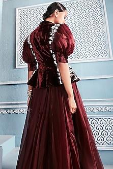 Wine Embroidered Blazer With Lehenga Skirt by Mahima Mahajan