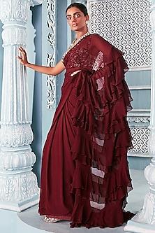 Wine Ruffled Saree Set by Mahima Mahajan