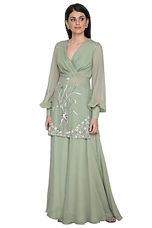 Jade Embroidered Draped Top With Palazzo Pants by Mahima Mahajan