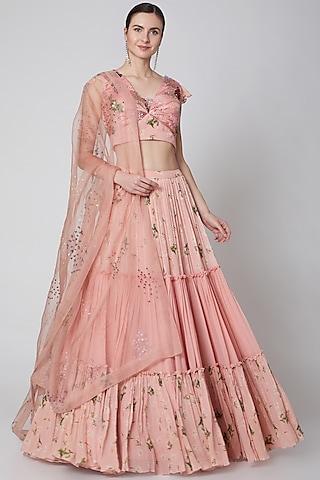 Blush Pink Printed Lehenga Set  by Mahima Mahajan