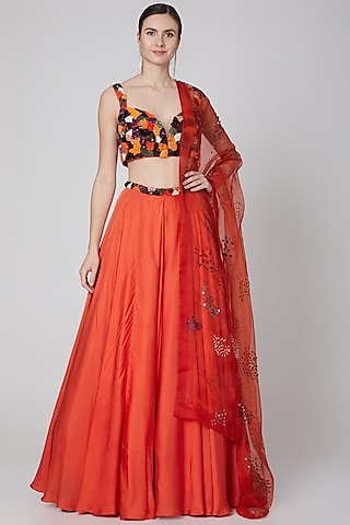 Orange Embroidered Lehenga Set by Mahima Mahajan