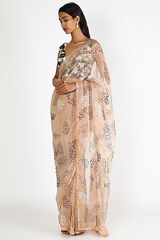Nude Embroidered Saree Set by Mahima Mahajan
