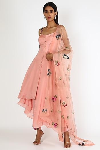 Blush Pink Printed Kurta Set by Mahima Mahajan