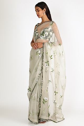 Jade Embroidered Saree Set by Mahima Mahajan
