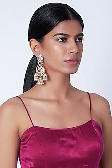 Gold Plated Faux Diamond Chandbali Earrings by Moh-Maya by Disha Khatri