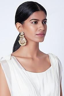 Gold Plated Meenakari Pearl Chandbali Earrings by Moh-Maya by Disha Khatri