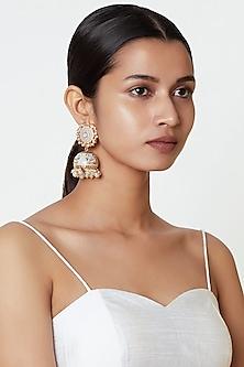 Gold Plated Meenakari Jhumka Earrings by Moh-Maya by Disha Khatri