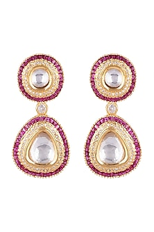 Gold Plated Ruby Earrings by Moh-Maya by Disha Khatri