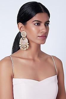 Gold Plated Pearl Chandbali Earrings by Moh-Maya by Disha Khatri