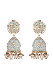 Gold Plated Pearl Meenakari Jhumka Earrings by Moh-Maya by Disha Khatri