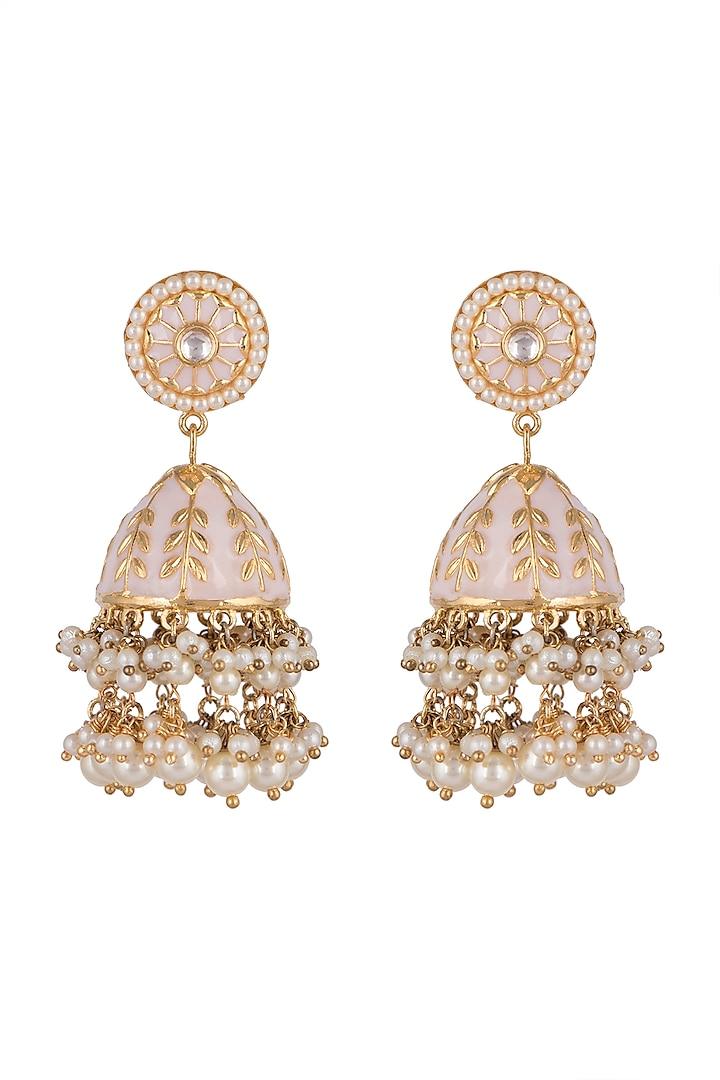 Gold Plated Kundan Jhumka Earrings by Moh-Maya by Disha Khatri