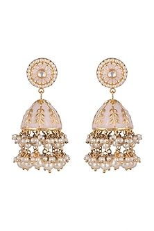 Gold Plated Kundan Jhumka Earrings by Moh-Maya by Disha Khatri