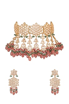 Gold Plated Emerald Necklace Set by Moh-Maya by Disha Khatri