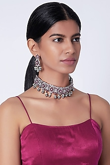 Gold Plated Faux Diamond Necklace Set by Moh-Maya by Disha Khatri