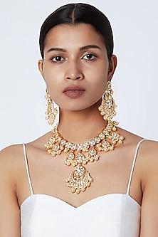 Gold Plated Kundan Necklace Set by Moh-Maya by Disha Khatri