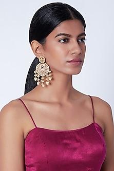 Gold Plated Light Pink Meenakari Chandbali Earrings by Moh-Maya by Disha Khatri
