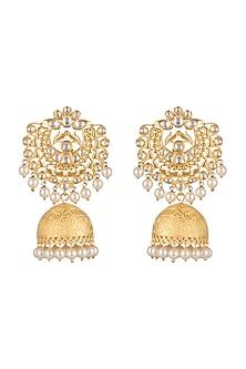 Gold Plated Long Jhumka Earrings by Moh-Maya by Disha Khatri