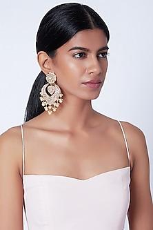 Gold Plated Kundan Meenakari Chandbali Earrings by Moh-Maya by Disha Khatri