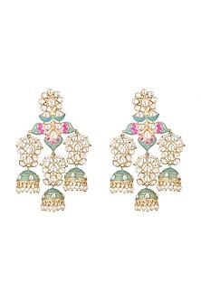 Gold Finish Kundan Enamled Long Earrings by Moh-Maya by Disha Khatri-JEWELLERY ON DISCOUNT