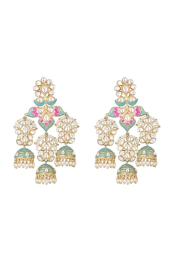 Gold Finish Kundan Enamled Long Earrings by Moh-Maya by Disha Khatri