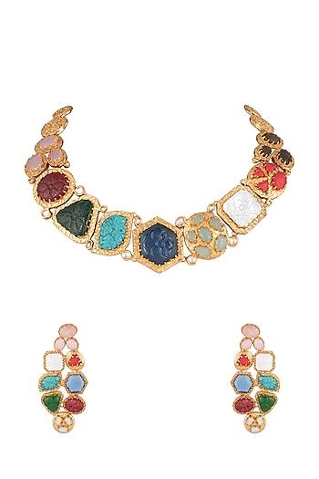 Gold Finish Stone Necklace Set by Moh-Maya by Disha Khatri
