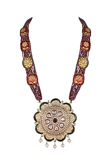 Gold Finish Long Pendant Necklace by Moh-Maya by Disha Khatri-JEWELLERY ON DISCOUNT