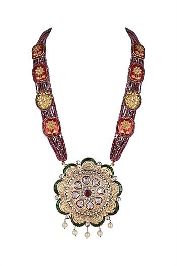Gold Finish Long Pendant Necklace by Moh-Maya by Disha Khatri