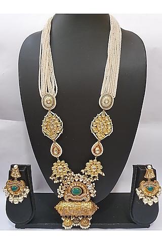 Gold Finish Emerald Stone Necklace Set by Moh-Maya By Disha Khatri