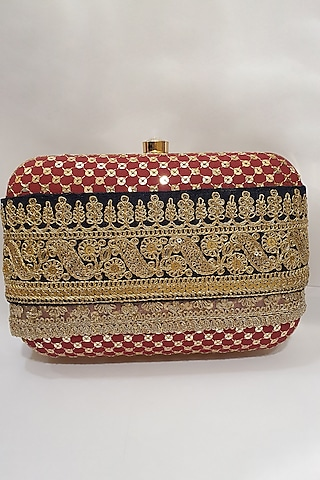 Red Clutch With Lace Detailing by Moh-Maya By Disha Khatri