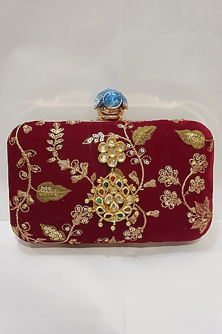 Gold & Red Velvet Embroidered Clutch by Moh-Maya By Disha Khatri