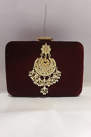 Dark Blue & Maroon Sequins Embroidered Clutch by Moh-Maya By Disha Khatri