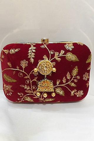 Gold & Red Embroidered Clutch by Moh-Maya By Disha Khatri