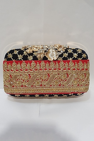 Dark Blue Clutch With Lace Detailing by Moh-Maya By Disha Khatri