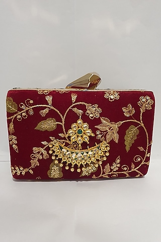 Red & Black Embroidered Clutch by Moh-Maya By Disha Khatri