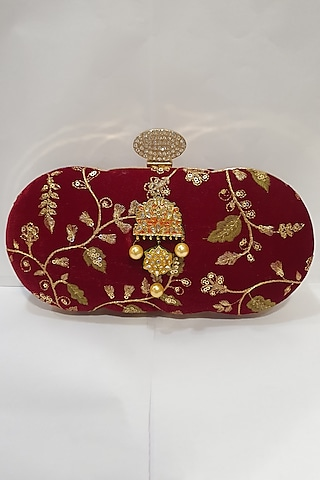 Red Kundan Embroidered Clutch by Moh-Maya By Disha Khatri