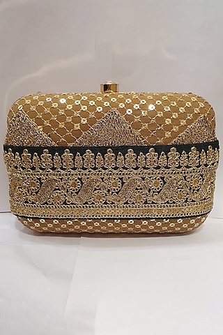 Gold Embroidered Clutch by Moh-Maya By Disha Khatri