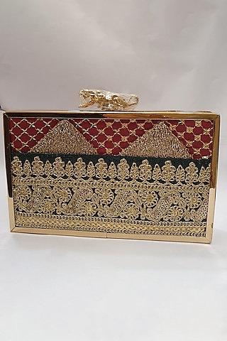 Gold Sequins Embroidered Clutch by Moh-Maya By Disha Khatri