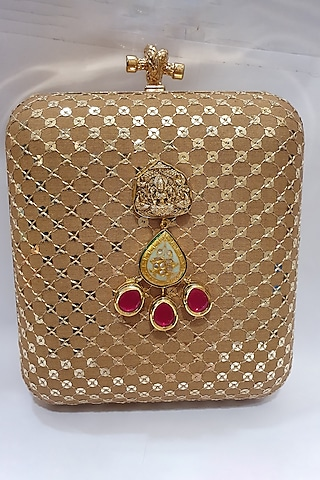 Gold Clutch With Metal Fitting by Moh-Maya By Disha Khatri