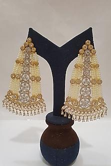 Gold Finish Pearl & Diamond Earrings by Moh-Maya By Disha Khatri