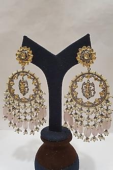 Gold Finish Pink Stone Earrings by Moh-Maya By Disha Khatri