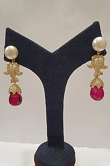 Gold Finish Pearls Earrings by Moh-Maya By Disha Khatri